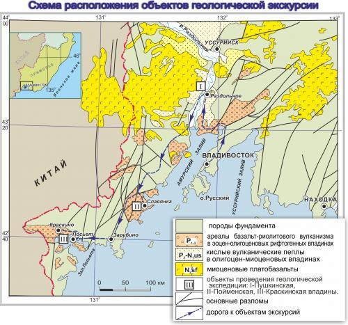Схема расположения объектов геологической экскурсии